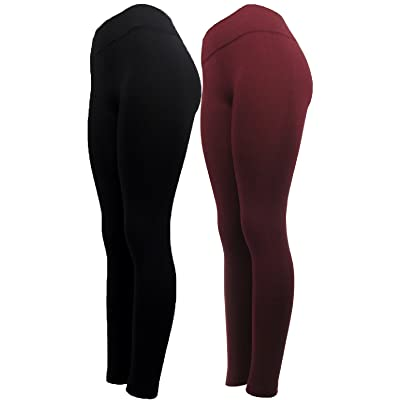 """ J.Ann-Mopas "" Ladies Winter Fleece Lined Leggings, Burgandy Combos"