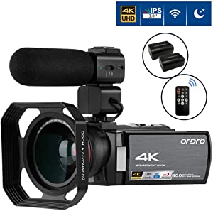 4K Camcorder Video Camera ORDRO 4K Ultra HD Digital Camera 30MP 1080P 60FPS Video Camcorder IR Night Vision WiFi Recorder with Microphone, Wide Angle Lens and 2 Batteries