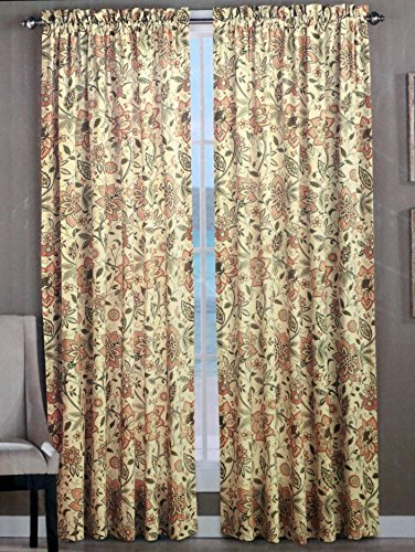 Tommy Bahama Set of 2 Window Panel Curtains Olive Beige Peach Floral Pattern on Cream 52 Inches by 96 Inches -- Songbird Haven