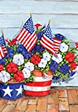 Toland - Patriotic Pansies - Decorative America Flower Independence 4th July USA-Produced Garden Flag