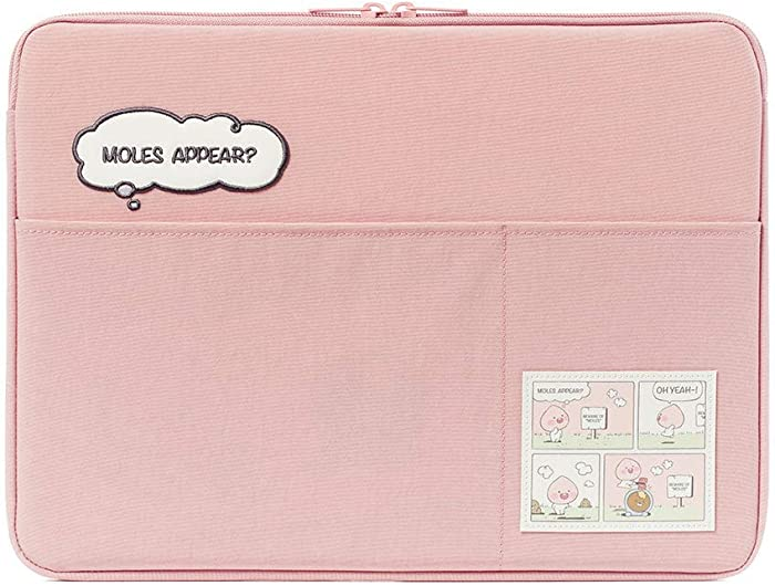 "KAKAO FRIENDS Official- Lazy Sunday Laptop Sleeve Case with Pockets 13"", 15"" (Pink) (13 inch)"