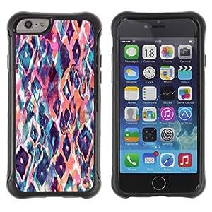 Híbridos estuche rígido plástico de protección con soporte para el Apple iPhone 6 (4.7) - watercolor teal orange