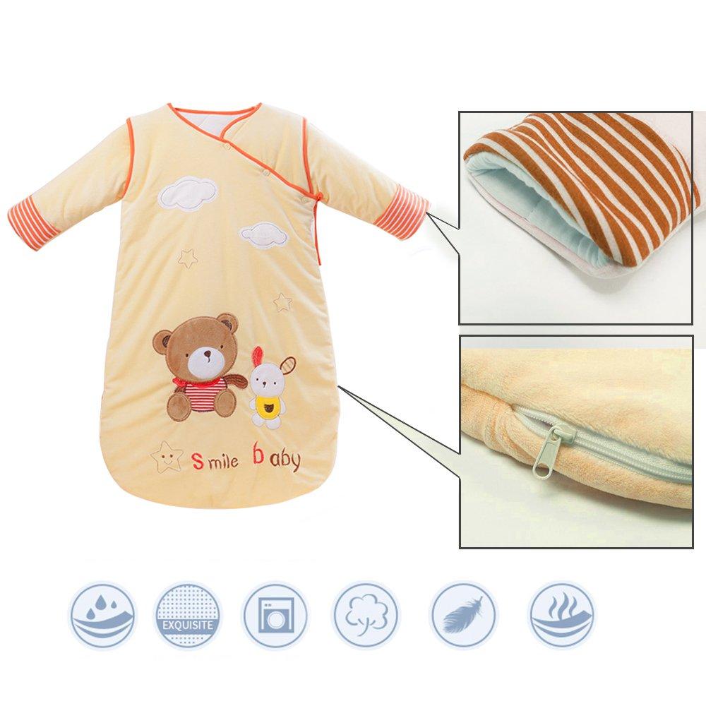 Baby Sleeping Bag Sleep Sack Bag Sleepingbag Sleepwear Long Sleeves Perfect Kids Gifts in Winter 0-12 Months (yellow)