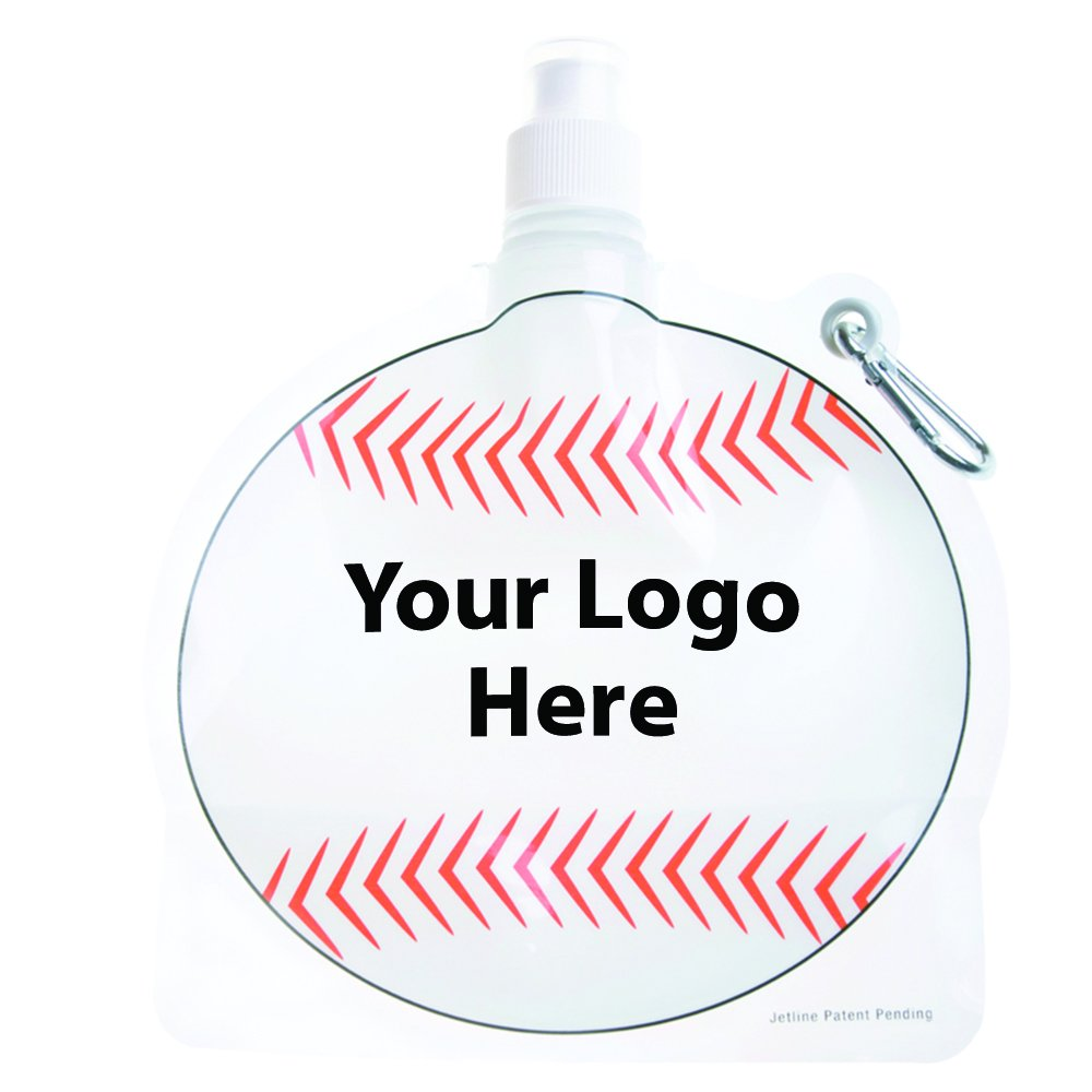 HydroPouch! 24 Oz. Baseball Collapsible Water Bottle - Patented - 100 Quantity - $3.40 Each - PROMOTIONAL PRODUCT / BULK / BRANDED with YOUR LOGO / CUSTOMIZED