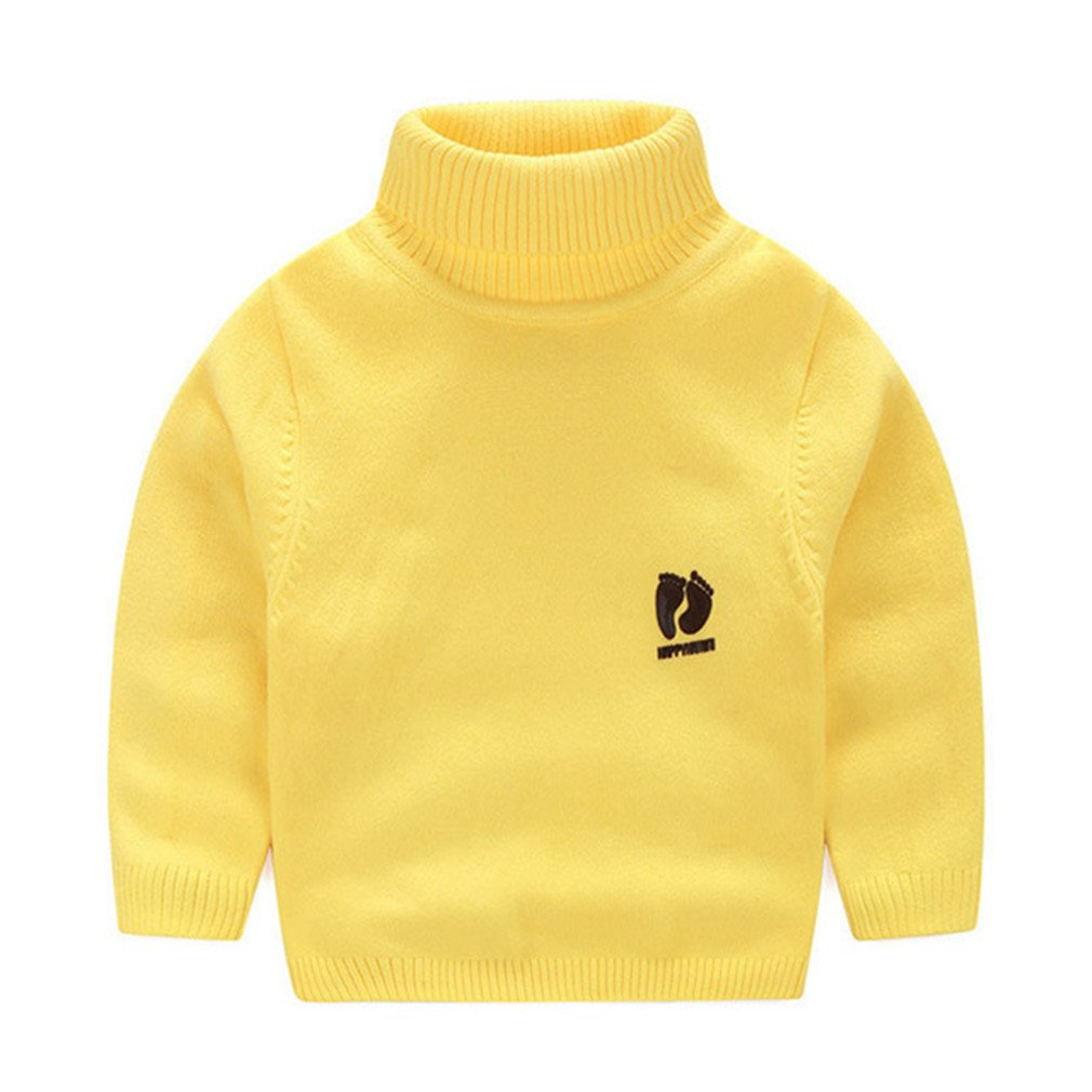 Winyersnow Kids Children Sweaters Turtleneck Knitted Sweaters Cardigan Clothes Yellow 12M