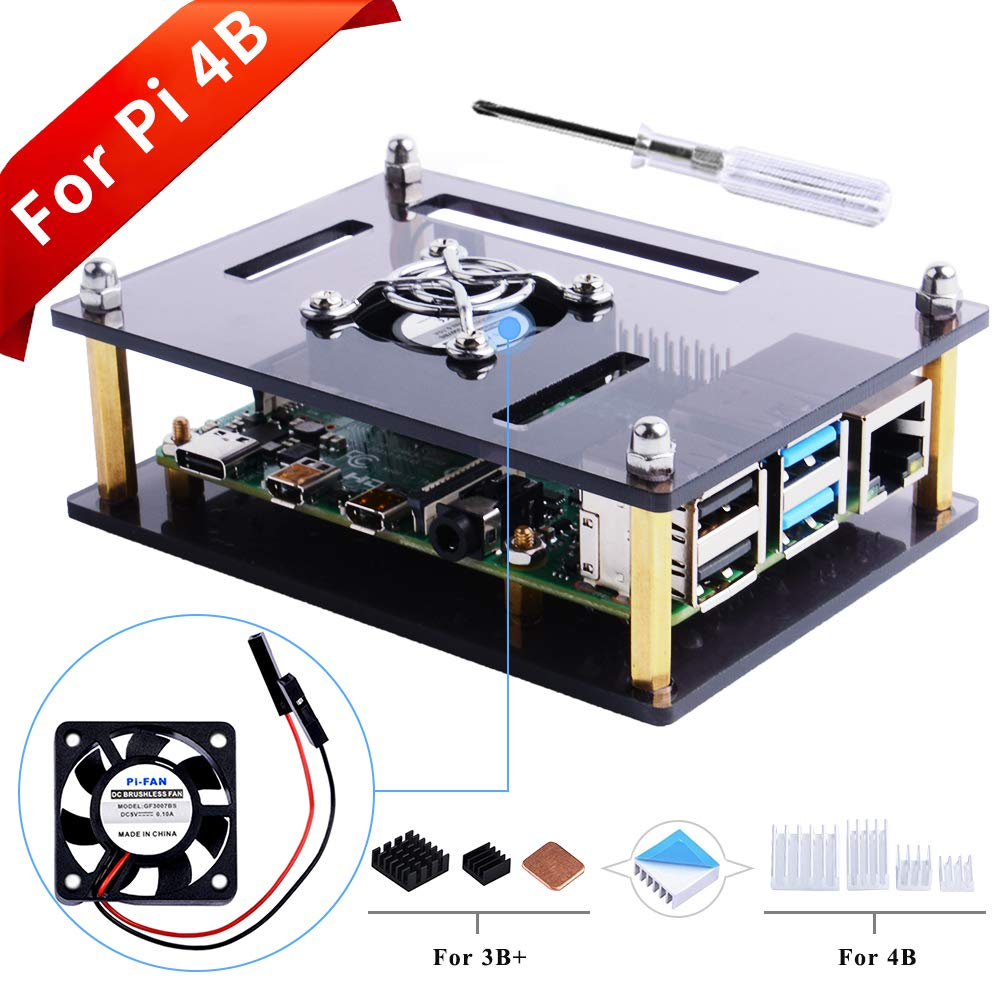 GeeekPi Acrylic Case for Raspberry Pi 4 Model B & Raspberry Pi 3 Model B+, Raspberry Pi Case with Cooling Fan and 7PCS Heatsinks for Raspberry Pi 3/2 Model B/B+ (Brown)