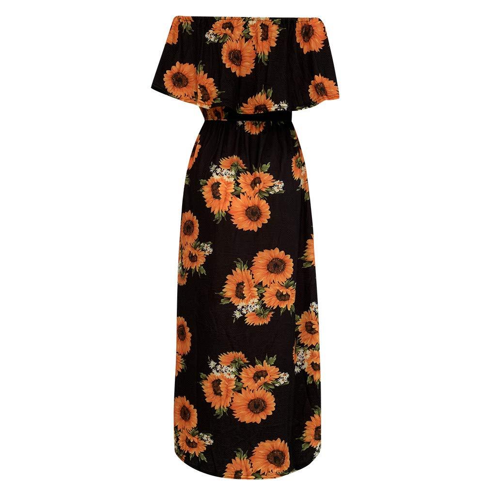 Shusuen Womens Off The Shoulder Party Dresses Side Split Beach Maxi Dress Floral Boho Midi Dresses