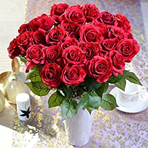 Sealike 5 Pcs Latex Real Touch Artificial Rose Flower Wedding Bouquet Flower Bouquets with Stylus 120