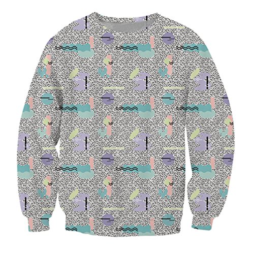 * NEW * 80s 3D Pattern Print Men's Crewneck Sweatshirt - S to 5XL -