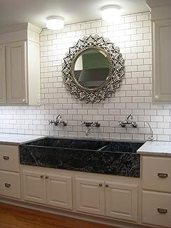 White 3x6 Subway Tile Backsplash, Kitchen, Walls, Countertop, Bathroom,  Herringbone,
