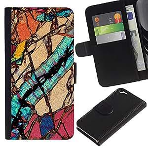 Billetera de Cuero Caso Titular de la tarjeta Carcasa Funda para Apple Iphone 6 4.7 / Macro Close Up Biology Geology / STRONG