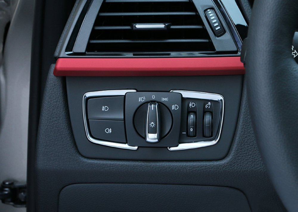 9 MOON Matt Chrome Headlight Switch Frame Trim For BMW For BMW X5 F15 2014 2015 F30 F31 F32 F34 3 4 Series Fits: BMW