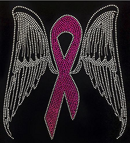 """Breast Cancer Butterfly Ribbon Pink """"LARGE"""" Rhinestone Iron on Transfer"""