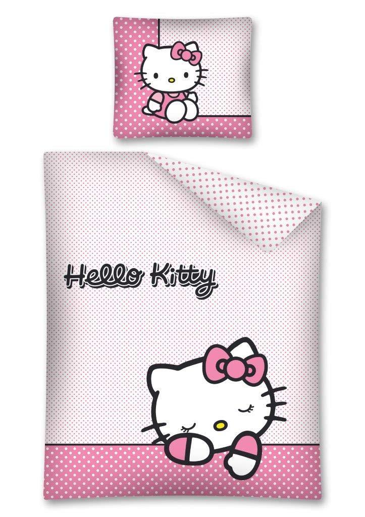 double face 140 x 200 cm Hello Kitty biancheria da letto federa 70 x 90 cm 100/% cotone