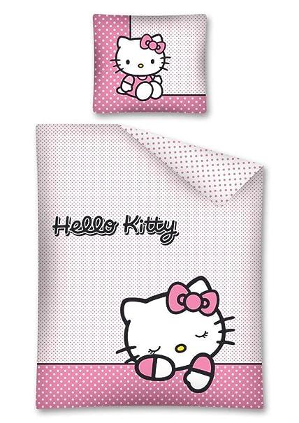 Hello Kitty juego de ropa de cama, ropa de cama de 140 x 200 cm, funda de almohada de 70 x 90 cm 100% algodón