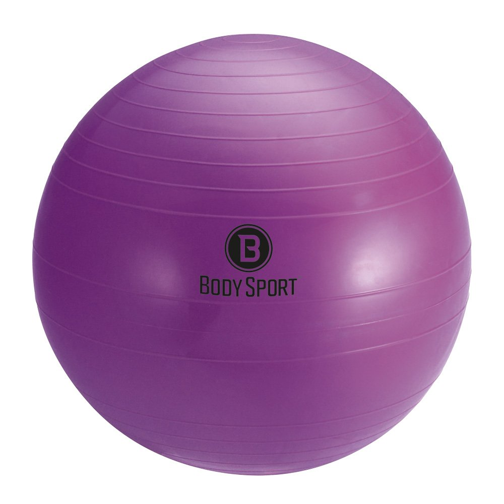 Body Sport Exercise Ball with Pump for Home, Gym, Balance, Stability, Pilates, Core Strength, Stretching, Yoga, Fitness Facilities, Desk Chairs - Purple 45cm