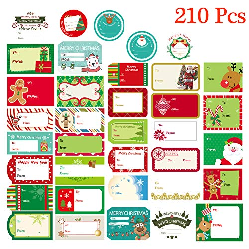 Christmas Gift Tag Stickers Peel & Stick from to Name Christmas Labels Santa Snowmen Xmas Tree Deer Festival Holiday Decorative Presents Labels for Gift Boxes, 210 Pcs (Christmas For Elf Names)