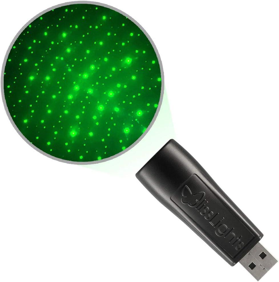 BlissLights Starport USB Laser Star Projector for Game Room Decor, Bedroom Night Light, or Mood Lighting Ambiance (Green)