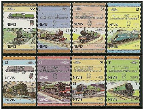 British trains stamp pairs - 16 stamps in 8 pairs SG132-147 issued in 1983 Nevis /Mint and unmounted (Train Stamps Mint)