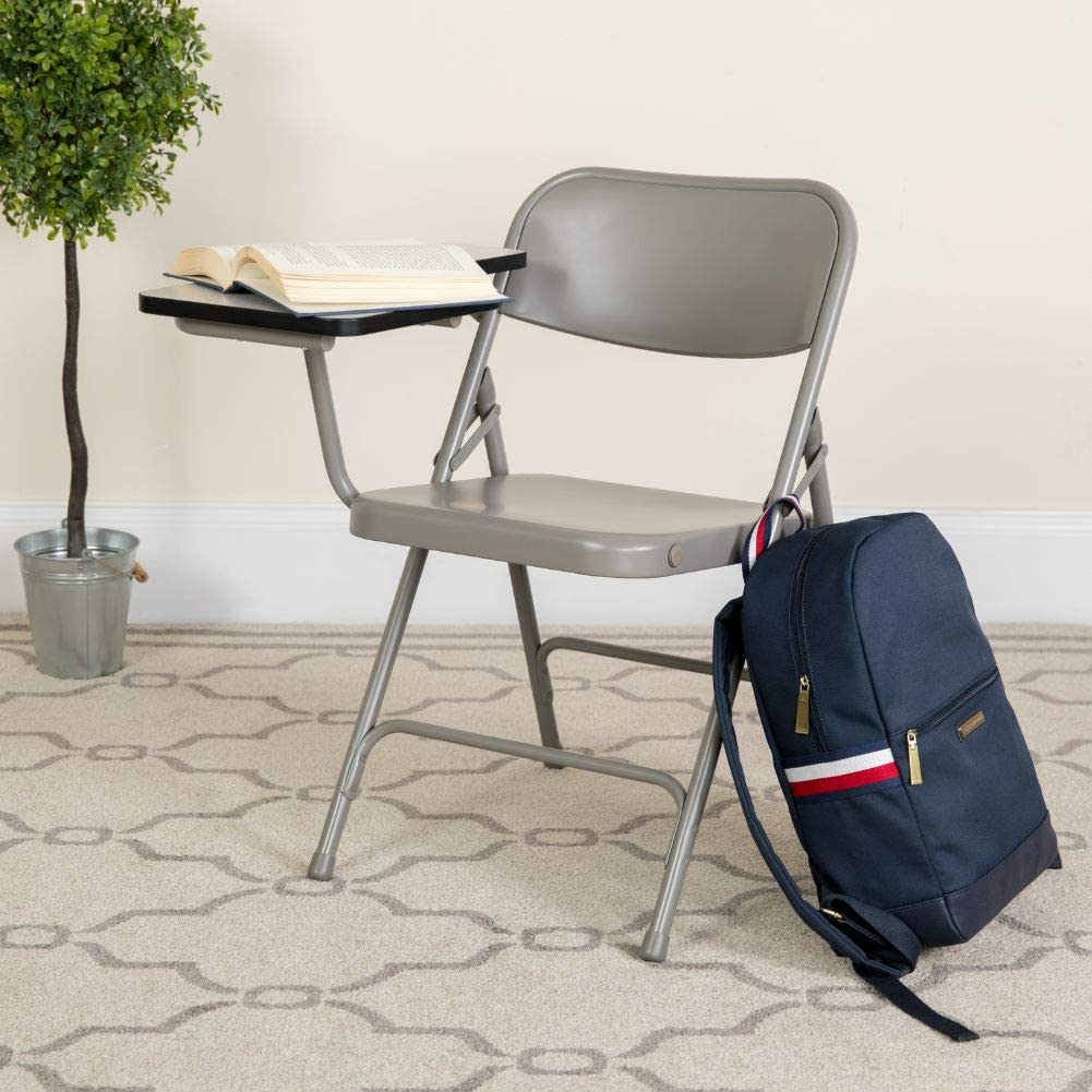 Flash Furniture 2 Pack Premium Steel Folding Chair with Right Handed Tablet Arm