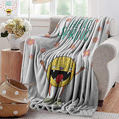 Throw Blanket for Couch,Quote,Hello Spring Little Funny Monster Jumping Happily Among the Falling Cherry Blossoms, Multicolor,Flannel Blankets Super Soft Warm Thick Blanket for Home 30