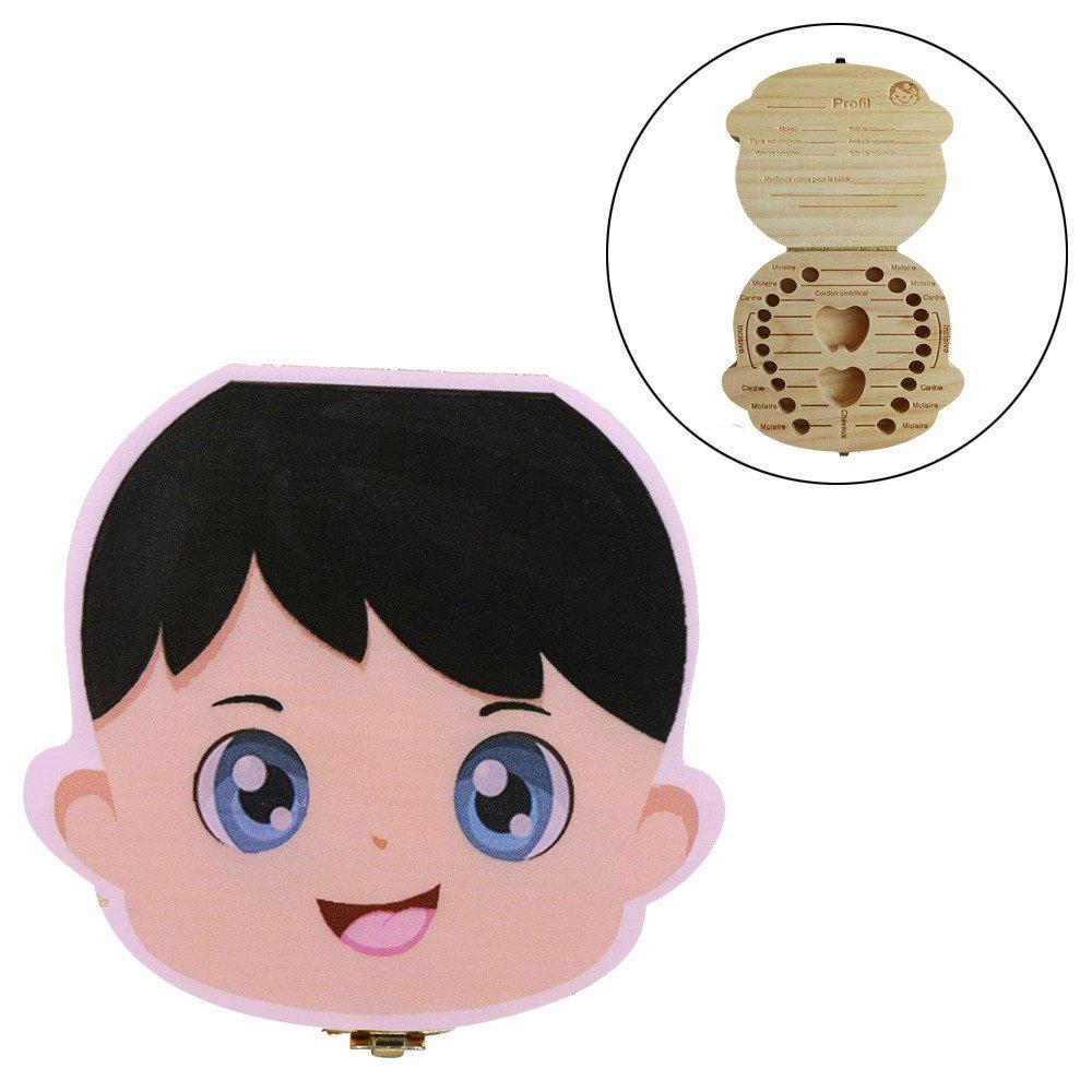 Ularma Organisateur de boîte à dents Les dents de lait de bébé sauvent Coffret de rangement en bois pour Enfants garçon Fille Version en français (Prince)