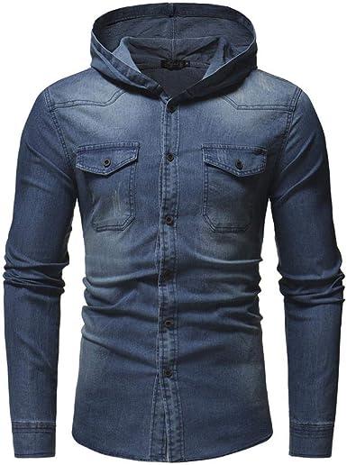 Camisa Casual para Camisas Chaqueta Hombres Jeans De Delgada Mode De Marca Camiseta De Manga Larga Sudadera con Capucha Sudadera con Capucha Camisa De Mezclilla con Capucha: Amazon.es: Ropa y accesorios
