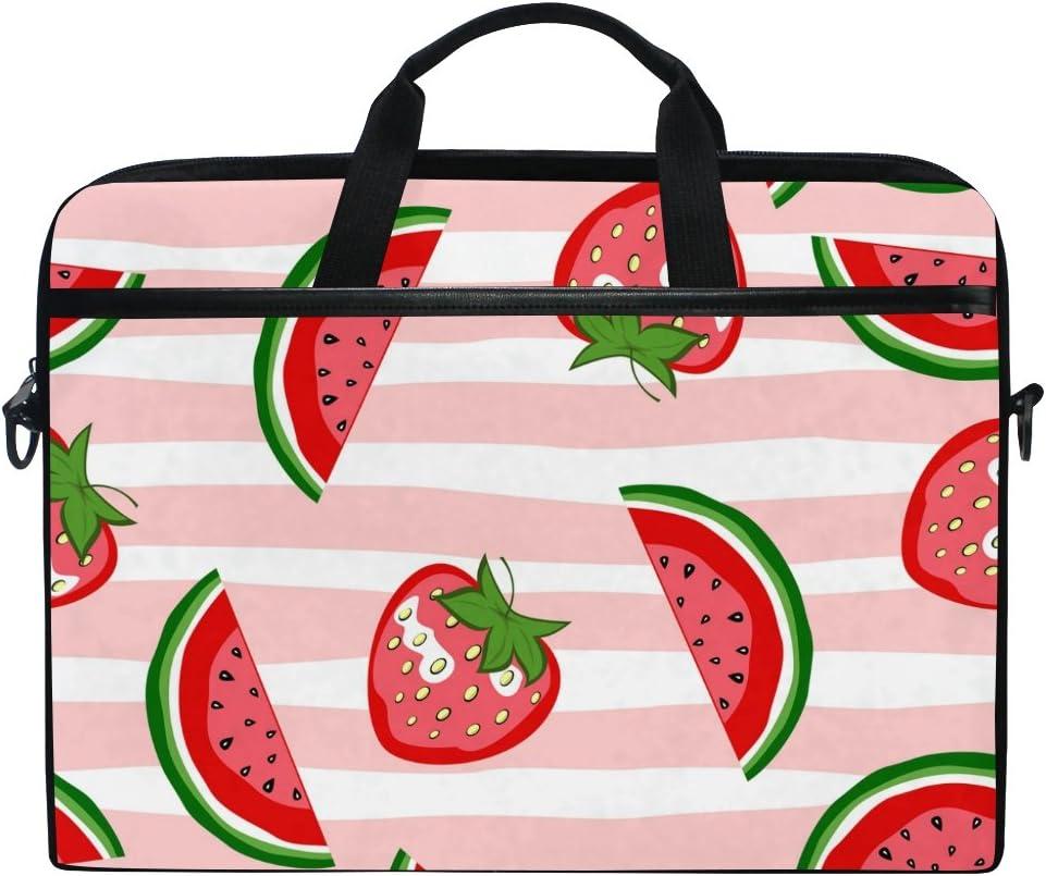 JSTEL Watermelon and Strawberry Laptop Shoulder Messenger Bag Case Sleeve for 14 inch to 15.6 inch with Adjustable Notebook Shoulder Strap