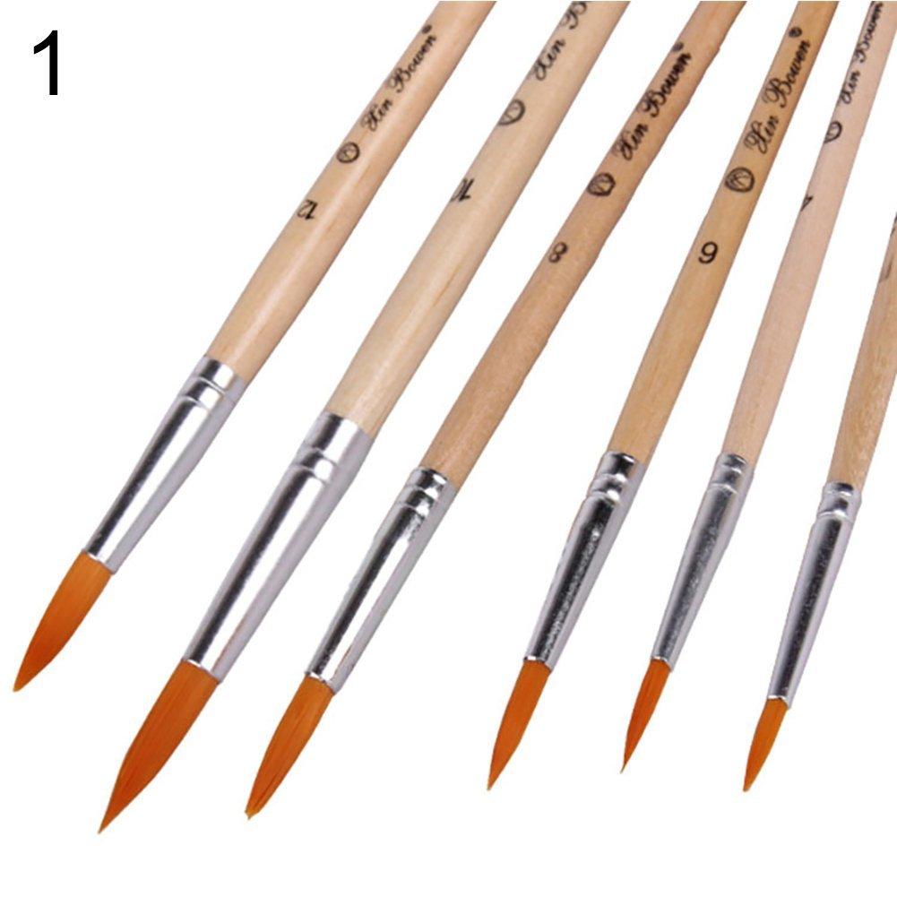 pennello per pittura/ gfjhgkyu ufficio matita vita quotidiana Prncil 6pcs morbido nylon capelli in legno rotondo piatto a punta fine /4/# 1#