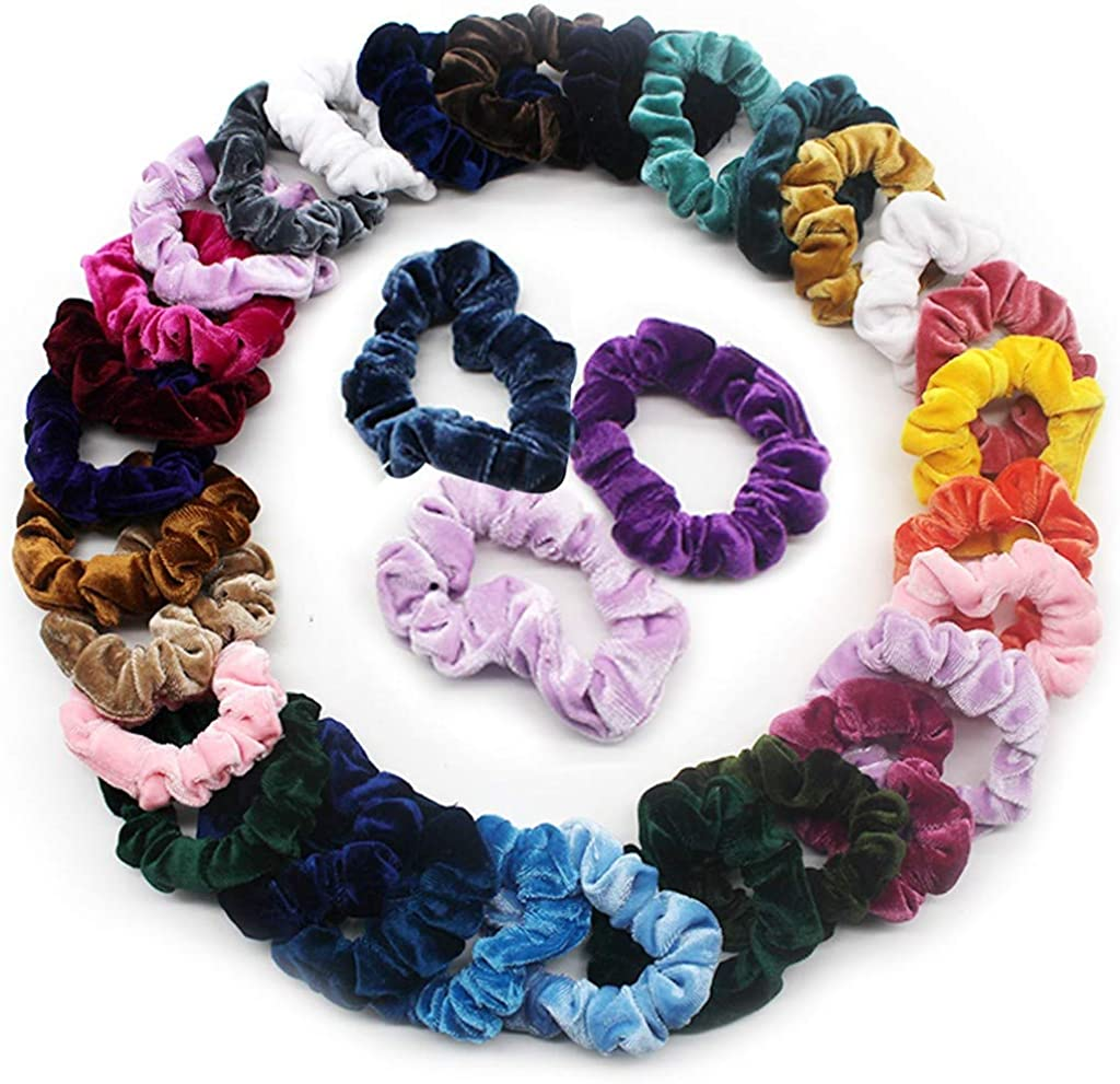Green-Blue  /& Golden Crochet Hair Scrunchies Pony Tail Holders,Hair Accessories
