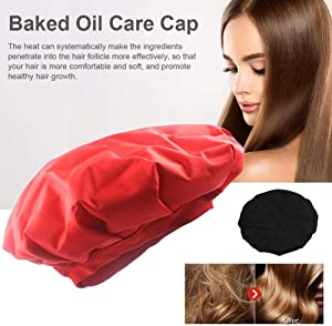 Dailyfun Cordless Deep Conditioning Heat Cap Microwavable Deep Conditioner Thermal Spa Hair Steamer Gel Cap, Black/Red