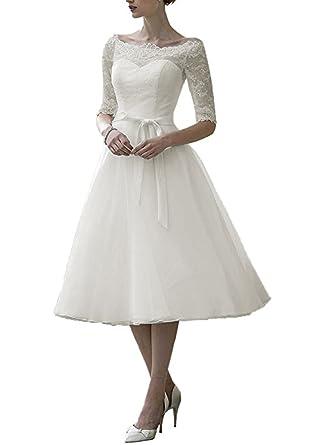 f70d112bb Dobelove Lace Half Sleeves Tea Length Ball Gown Wedding Dress at Amazon  Women's Clothing store:
