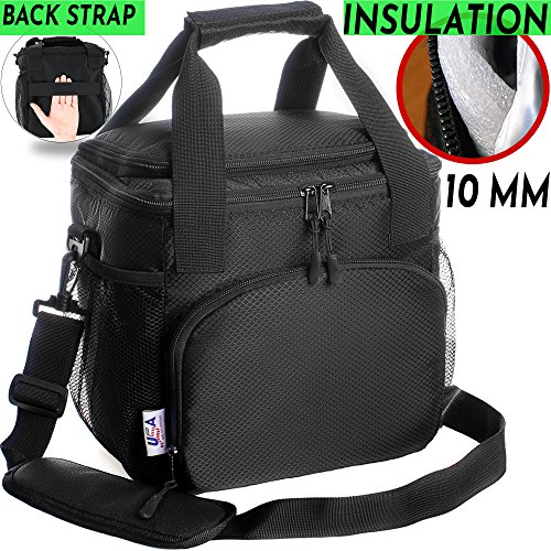 Insulated Lunch Bag For Men Women Adults Work Kids Cooler Box Travel Bags  Nylon Double-Sewn Thermal Food Kit Tote Bento Boxes Best 2 Way Zipper  Closures ... ef6ca046028b4