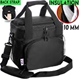 Insulated Lunch Bag For Men Women Adults Work Kids Cooler Box Travel Bags Nylon Double-Sewn Thermal Food Kit Tote Bento Boxes Best 2 Way Zipper Closures Adjustable Shoulder Strap - Set Pockets Black