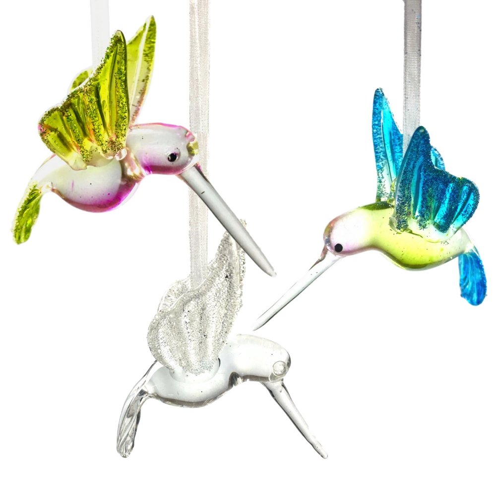 Hummingbird Glass Ornaments with Glitter Accents - Set of 3 - Handblown Ornament - Holiday Decorations Christmas Tree Ornaments Xmas Gift for Bird Lover