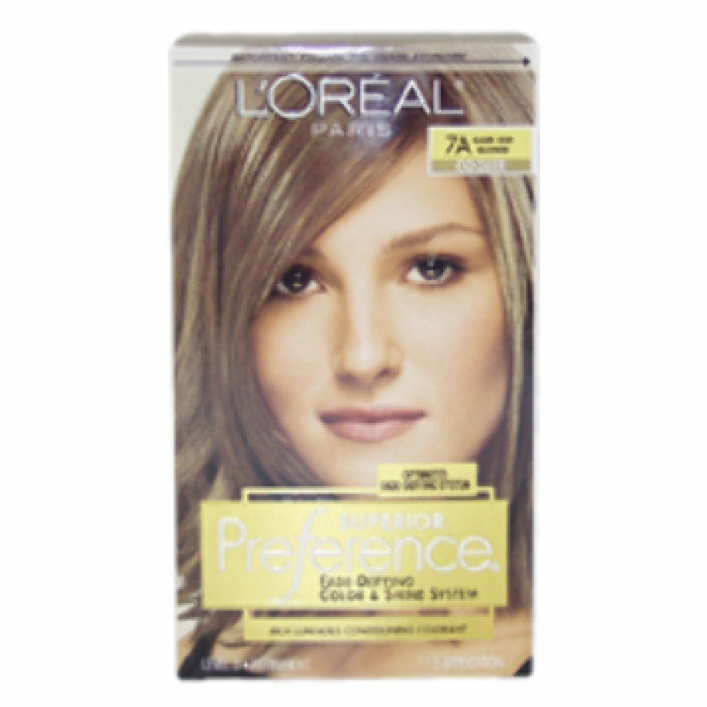 Loreal Paris Superior Preference Fade-Defying Color and Shine System Dark Ash Blonde and Natural 7A - 1 Pack