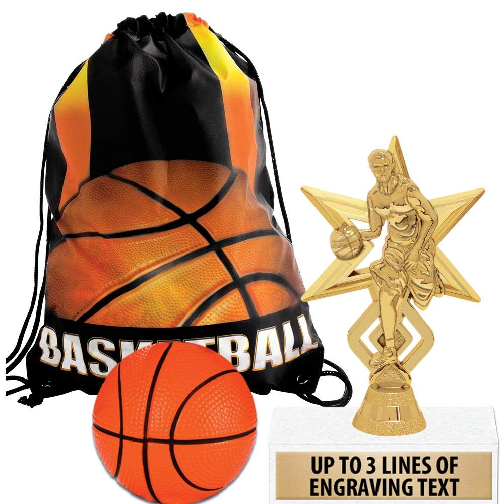 Crown Awards Basketball Goodie Bags, Basketball Favors for Basketball Themed Party Supplies Comes with Personalized Basketball Star Kids Trophy, Squishball and Basketball Drawstring 20 Pack