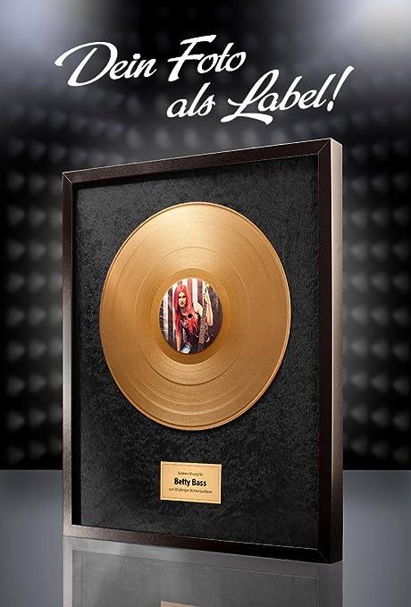 Goldene Schallplatte Mit Eigenem Foto Geschenk Zur Goldenen Hochzeit Hintergrund Schwarz
