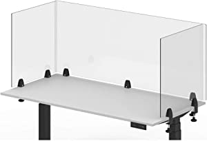 """Offex Antimicrobial Desktop Panel, Protective Acrylic Shield & Sneeze Guard Desk Divider, Clamp-On - Perfect for Offices, Schools, Libraries & More - Clear, 60"""" x 24"""""""
