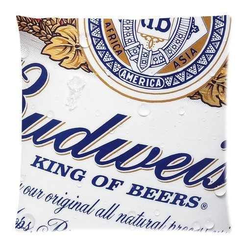 Budweiser Throw (Budweiser Beer Custom Throw Pillow Pillowcase DIY Cushion Case Roomy in Size 18 x 18 Inch)