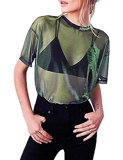 cd3a95e1c238 HaoDian Women s Sexy See Through Shirt- Loose T-Shirt Short Sleeve Blouse  Sheer Mesh