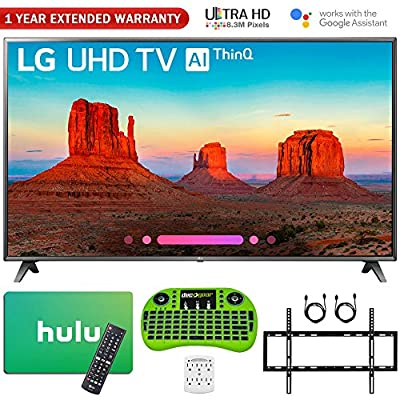 "LG 75UK6570PUB 75"" Class 4K HDR Smart LED AI UHD TV w/ThinQ (2018 Model) + Free $100 Hulu Gift Card + 1 Year Extended Warranty + Flat Wall Mount Kit Ultimate Bundle + More"