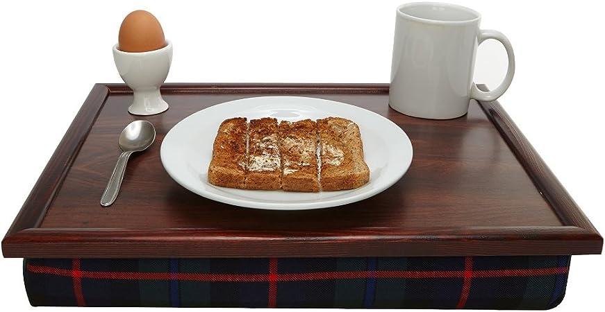 /Cuscino imbottito base Lusso blu tartan in legno pouf vassoio stabile tavolo letto scrivania/