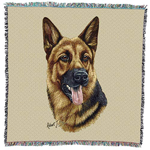 (Pure Country Weavers - German Shepherd 2 Woven Throw Blanket with Fringe Cotton. USA Size 54x54)