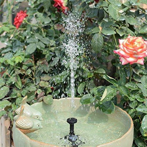 LATITOP Solar Teichpumpe, Springbrunnen Wasserspiel Solar Teich Fontäne Solarpumpen für Garten, Vorgarten, Vogel, Bad, Teich, Wasser (1,8W)