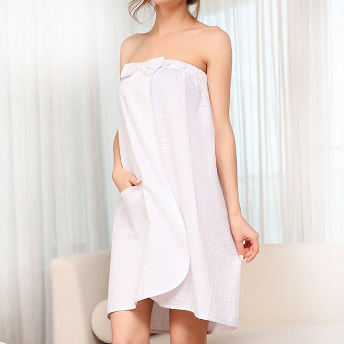 DealMux Cotton Lady Bowknot Adjustable Waffle Spa Bath Body Wrap 74cm Length White by DealMux (Image #3)