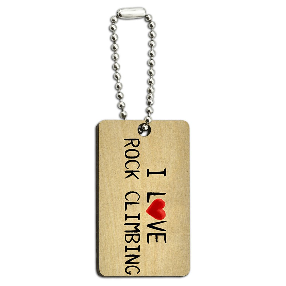 I Love Rock Climbing Written on Paper Wood Wooden Rectangle Key Chain