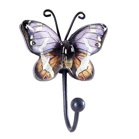 Appendiabiti Da Parete Farfalle.Nikky Home Appendiabiti Da Parete Con Singolo Gancio Attaccapanni A Muro Farfalla Per Vestito Asciugamano Cappello In Metallo E Vetro Viola