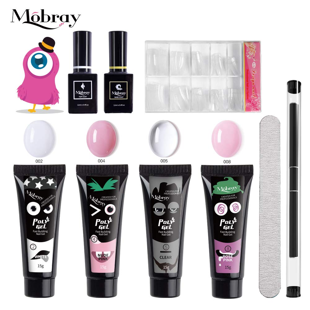Mobray Polygel Nail Kit Nail Extensions Kit,All-in-One Builder Gel with 15ml Pure Colors UV Builder Nail Gel Nail Enhancement Set Builder Gel,Brush Pen, Dual Forms, Top Coat Base Coat (Set 3) by Mobray