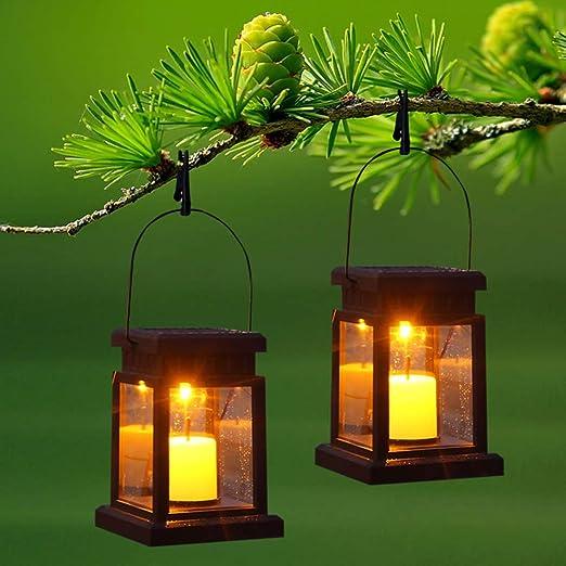 Prosperveil - Lote de 2 farolillos solares LED para jardín, exteriores, resistente al agua, parpadeante, para camino, paisaje, patio, camping, tienda de campaña: Amazon.es: Iluminación